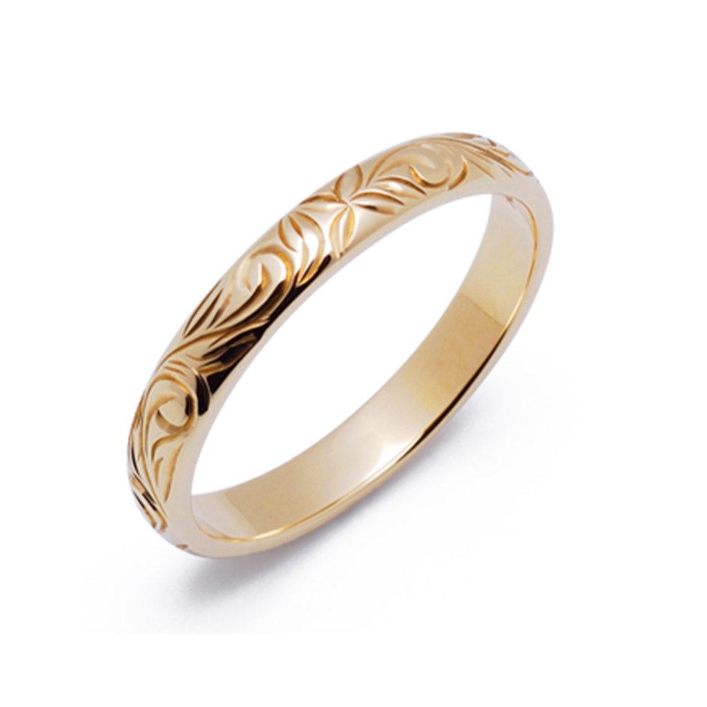 キリハ 結婚指輪 シンプル アンティーク 個性派 ストレート イエローゴールド