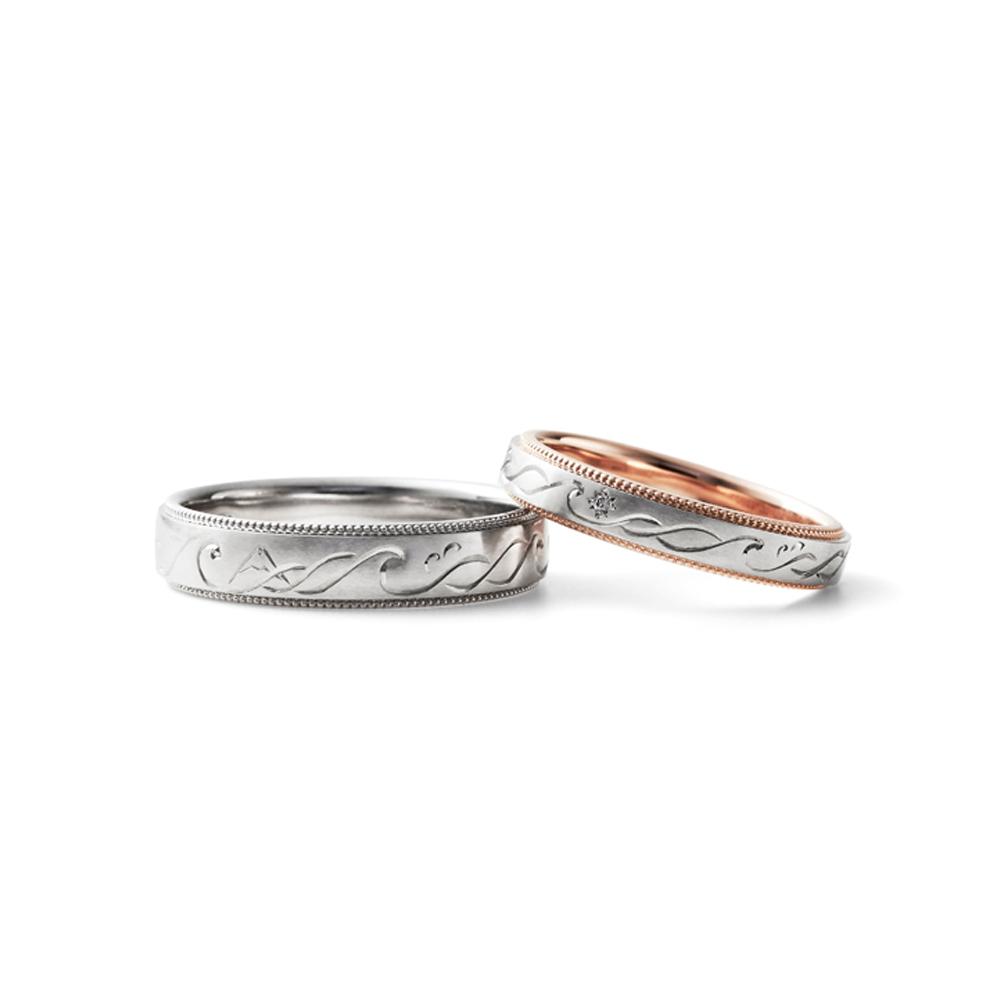 HARU 結婚指輪 シンプル 個性派 ストレート 幅広 プラチナ コンビ