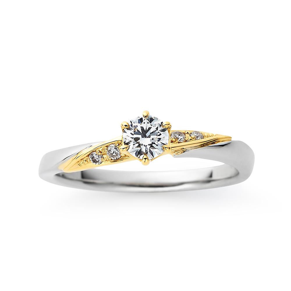 Shining wind 婚約指輪 シンプル S字(ウェーブ) プラチナ イエローゴールド コンビ