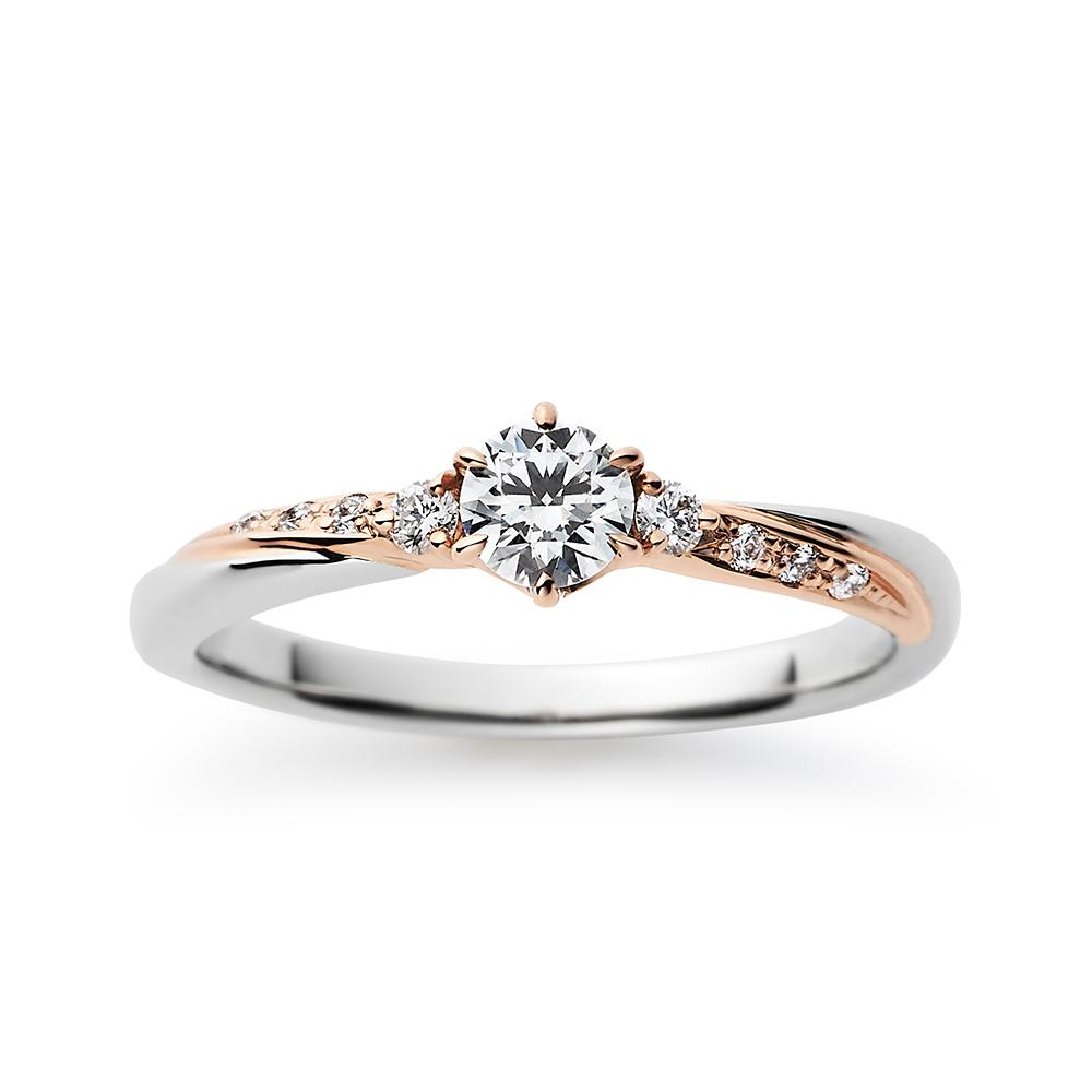 Mer 婚約指輪 エレガント ストレート プラチナ ピンクゴールド コンビ