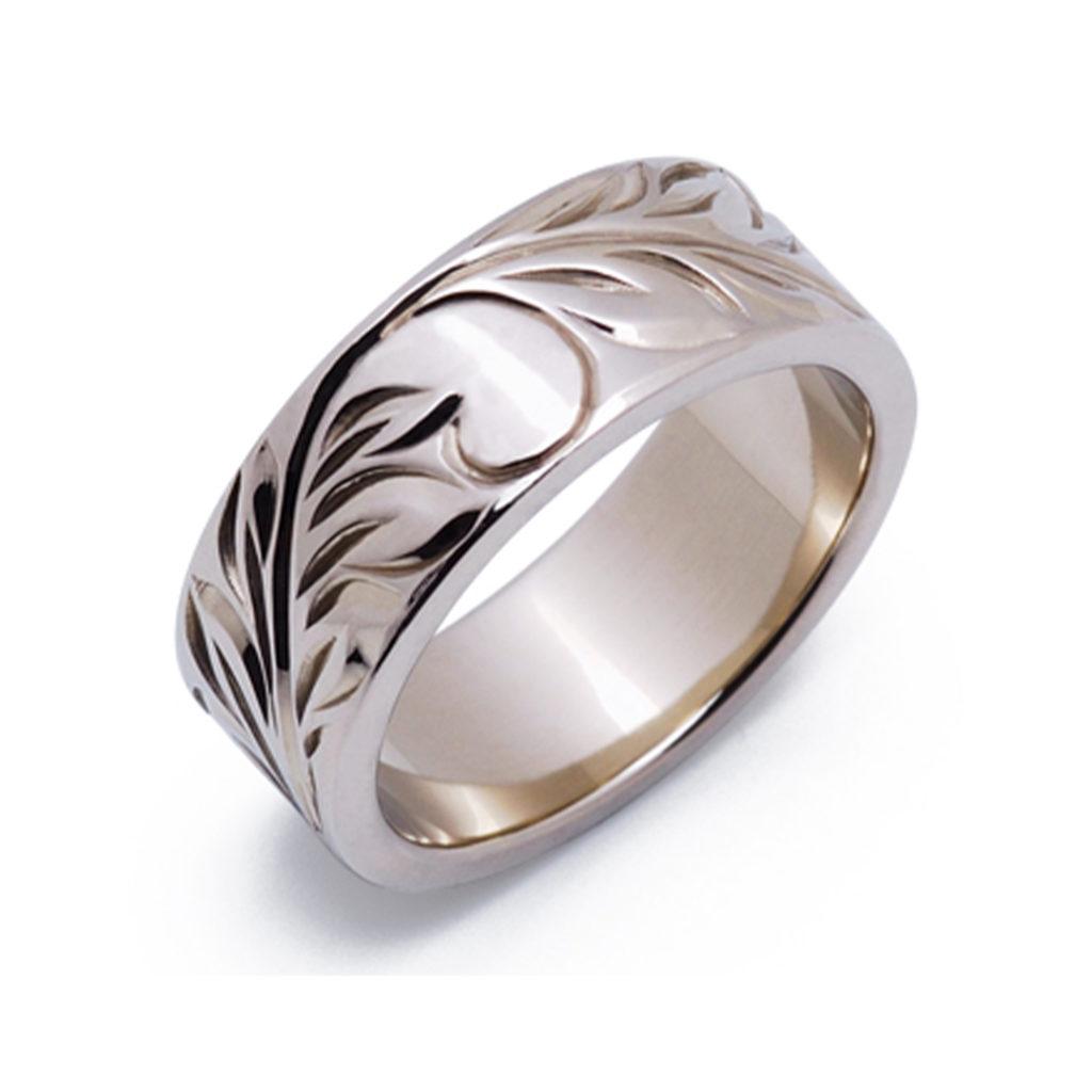 ヌイ 結婚指輪 シンプル 個性派 ストレート 幅広 ホワイトゴールド