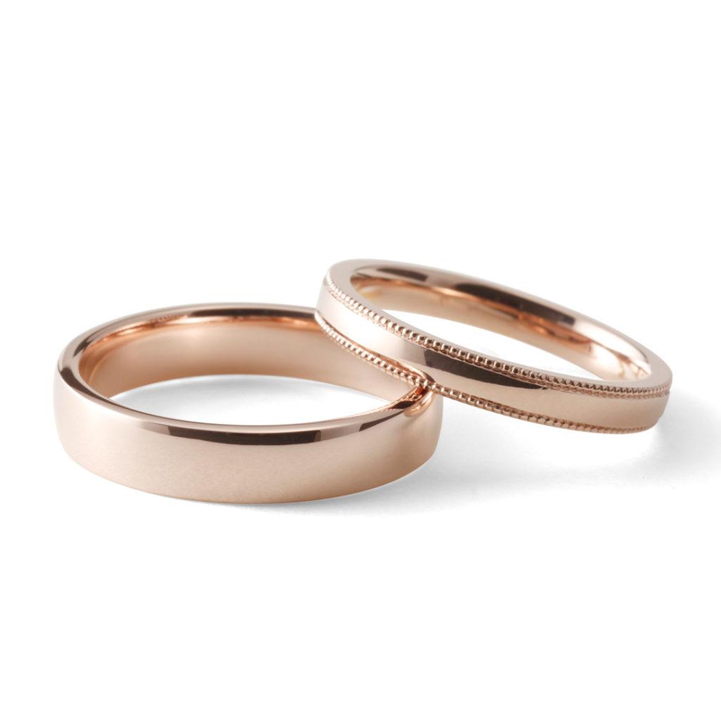 桜薫 - Haruka - 咲 Saki 結婚指輪 シンプル エレガント ストレート ピンクゴールド