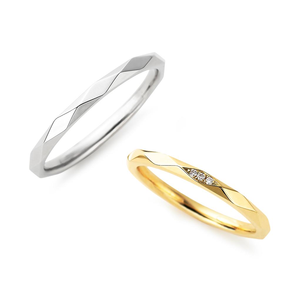 Soleil 結婚指輪 キュート ストレート プラチナ イエローゴールド