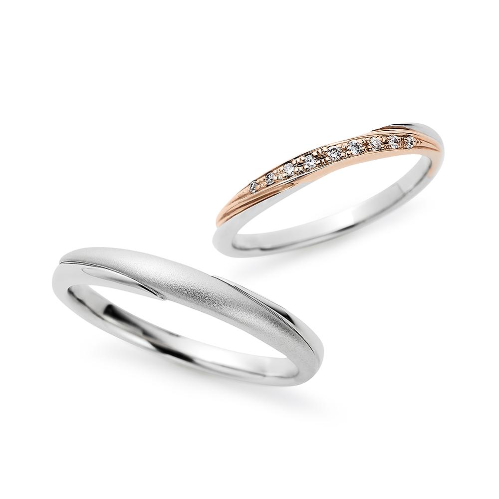 Mer 結婚指輪 エレガント ストレート プラチナ ピンクゴールド コンビ