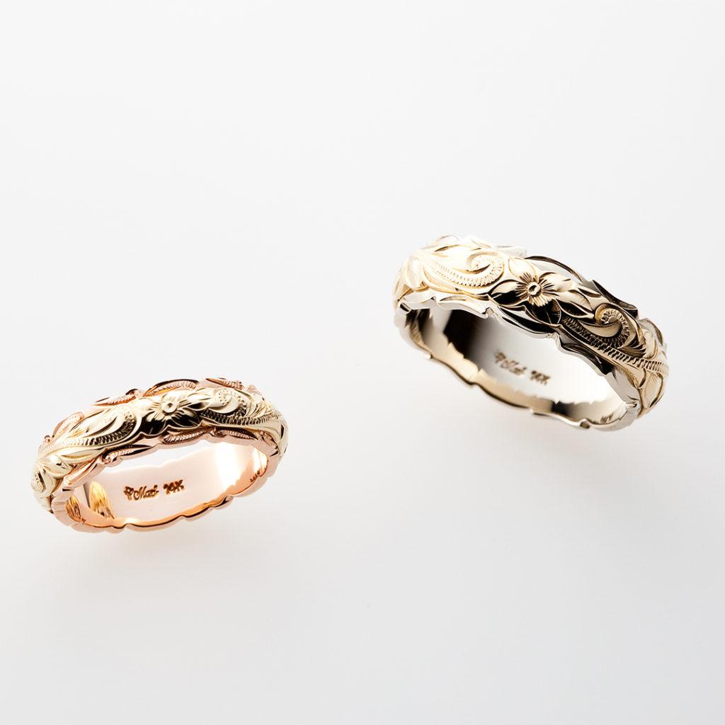 ツートンカット 結婚指輪 個性派 幅広 コンビ