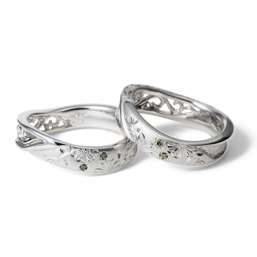 匠花Ⅰ - Shoka - 菊 Kiku 結婚指輪 エレガント キュート 個性派 S字(ウェーブ) プラチナ