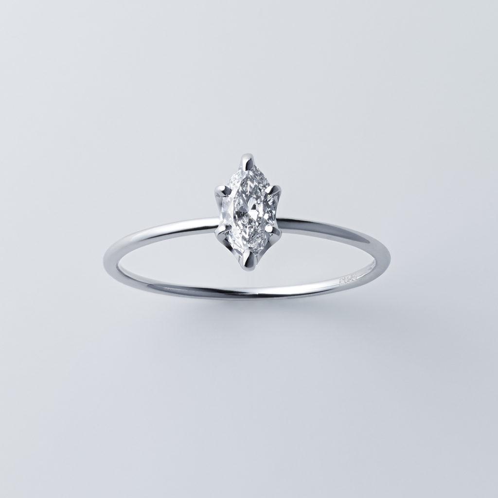 ストレートライン×マーキスカット 婚約指輪 シンプル ストレート プラチナ