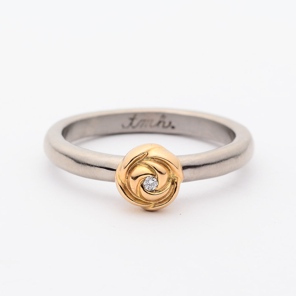 tmh. ティーエムエイチ. 婚約指輪 アンティーク 個性派 ストレート イエローゴールド ホワイトゴールド コンビ