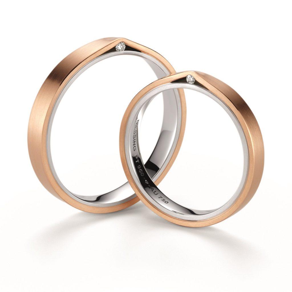 NIESSING REFUGIUM 結婚指輪 シンプル キュート ストレート プラチナ ピンクゴールド