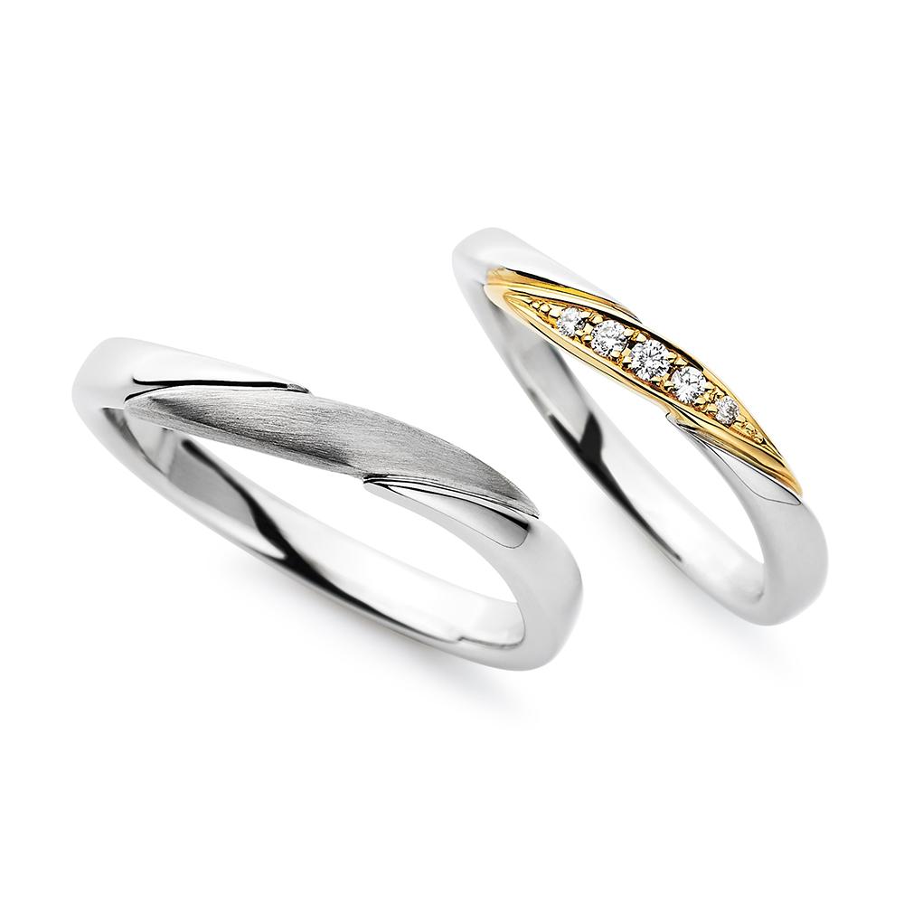 Shining wind 結婚指輪 エレガント S字(ウェーブ) プラチナ イエローゴールド コンビ