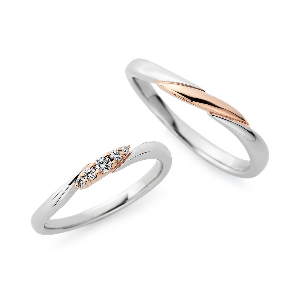 Serenity 結婚指輪 キュート S字(ウェーブ) プラチナ ピンクゴールド コンビ