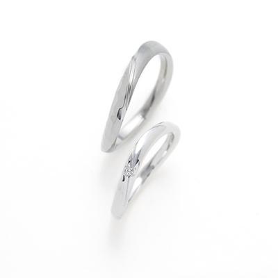 CONTRAIL 結婚指輪 シンプル 個性派 S字(ウェーブ) プラチナ ジルコニウム