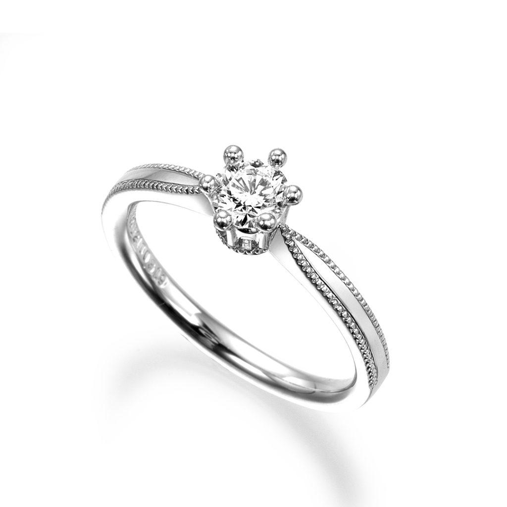 - ミルクラン - 婚約指輪 エレガント アンティーク ストレート プラチナ