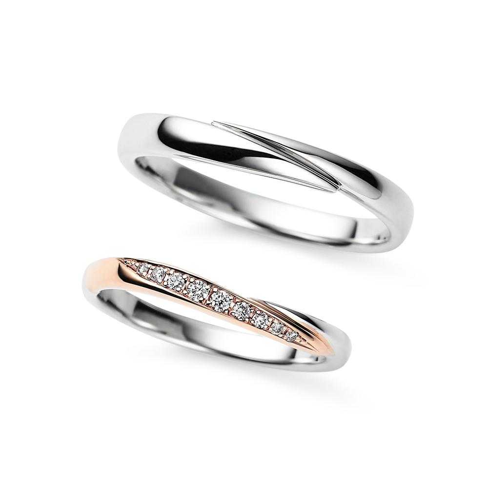 Bloom 結婚指輪 シンプル S字(ウェーブ) プラチナ ピンクゴールド コンビ