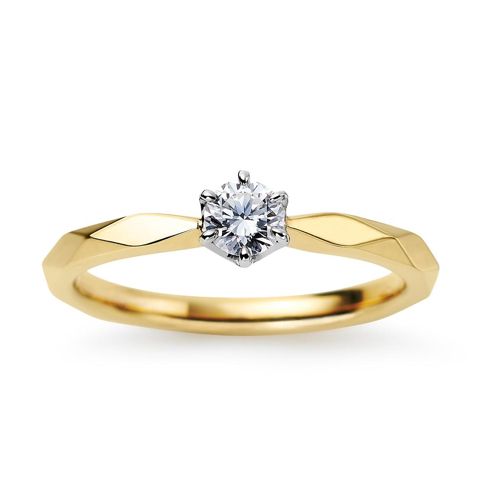 Soleil 婚約指輪 キュート ストレート プラチナ イエローゴールド