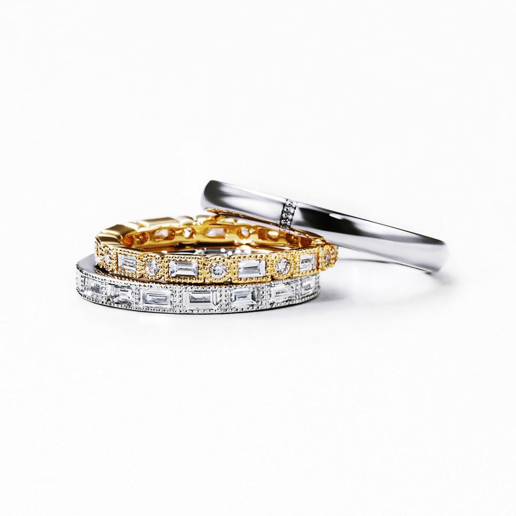 STARLIGHT 結婚指輪 エレガント ストレート プラチナ イエローゴールド