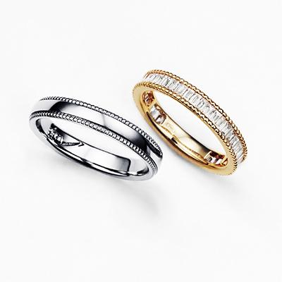 MEER 結婚指輪 エレガント ストレート エタニティ プラチナ イエローゴールド