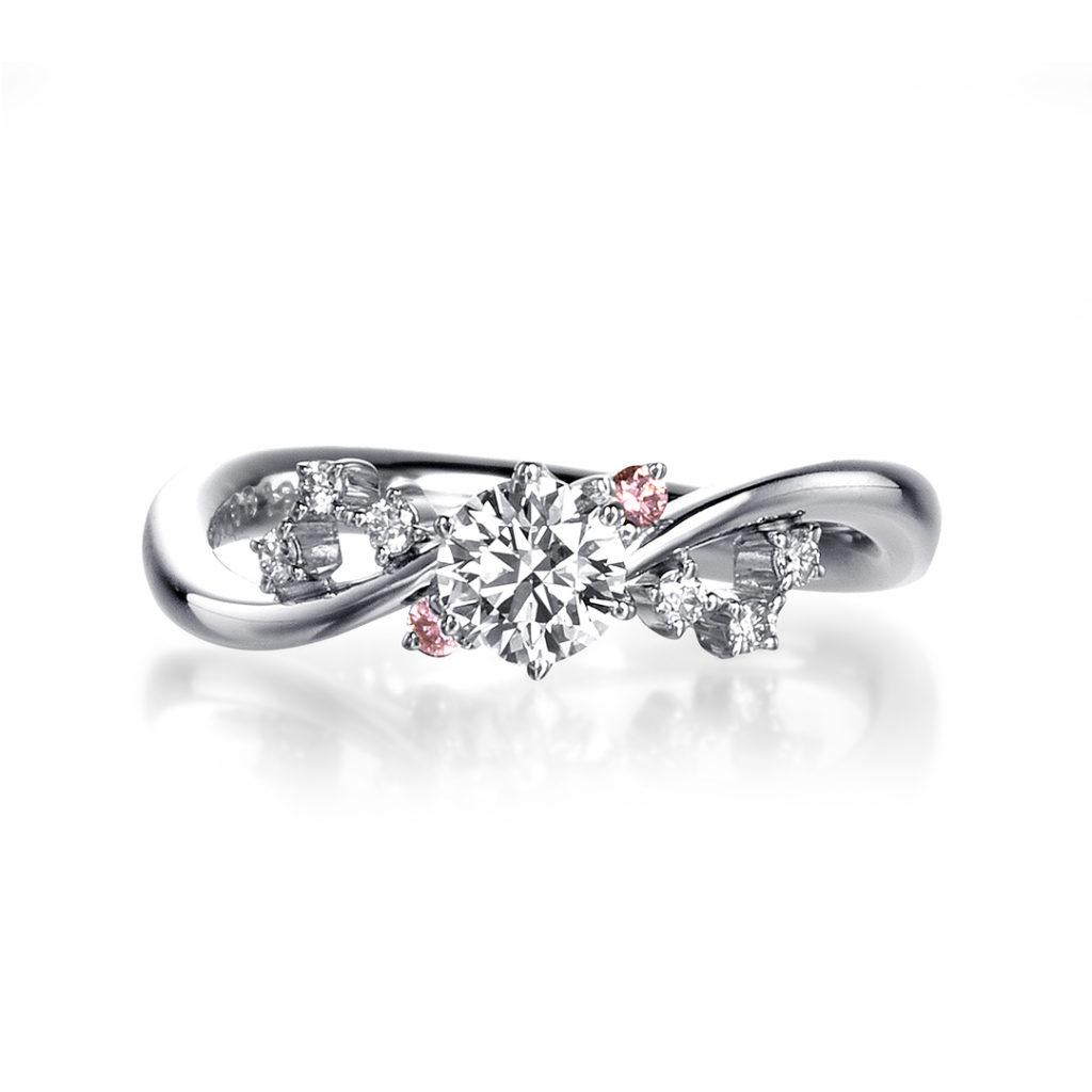 - アニエス - 婚約指輪 キュート 個性派 S字(ウェーブ) プラチナ