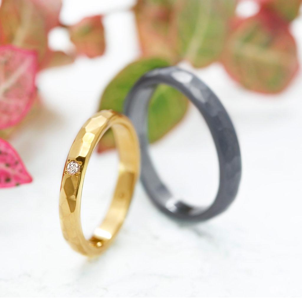 AINA 結婚指輪 シンプル 個性派 ストレート イエローゴールド タンタル
