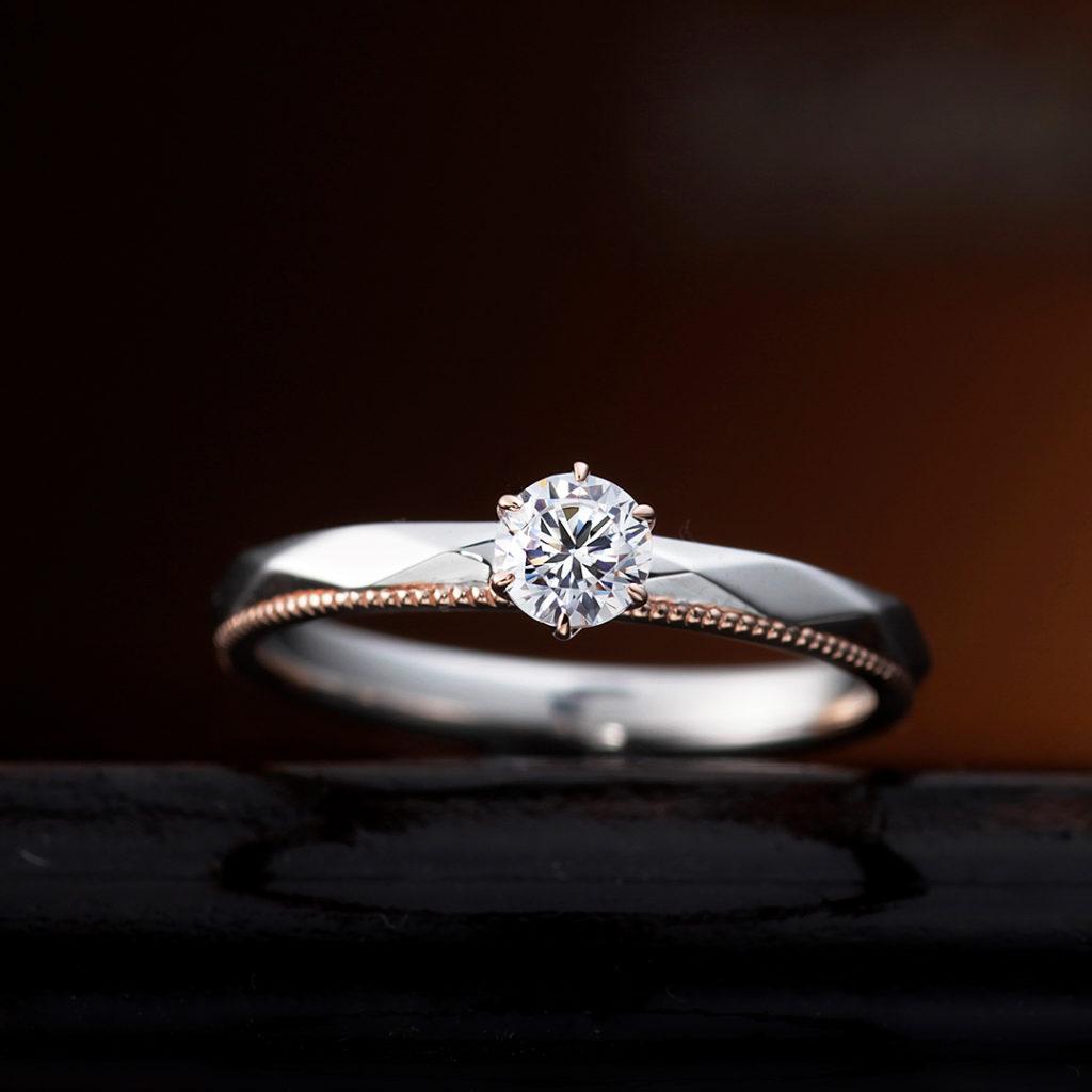 AJUGA 婚約指輪 アンティーク キュート ストレート 幅広 コンビ