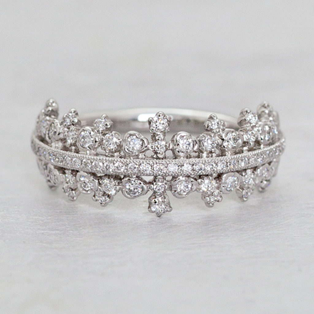 AL1098A 婚約指輪 エレガント アンティーク 個性派 ストレート 幅広 プラチナ