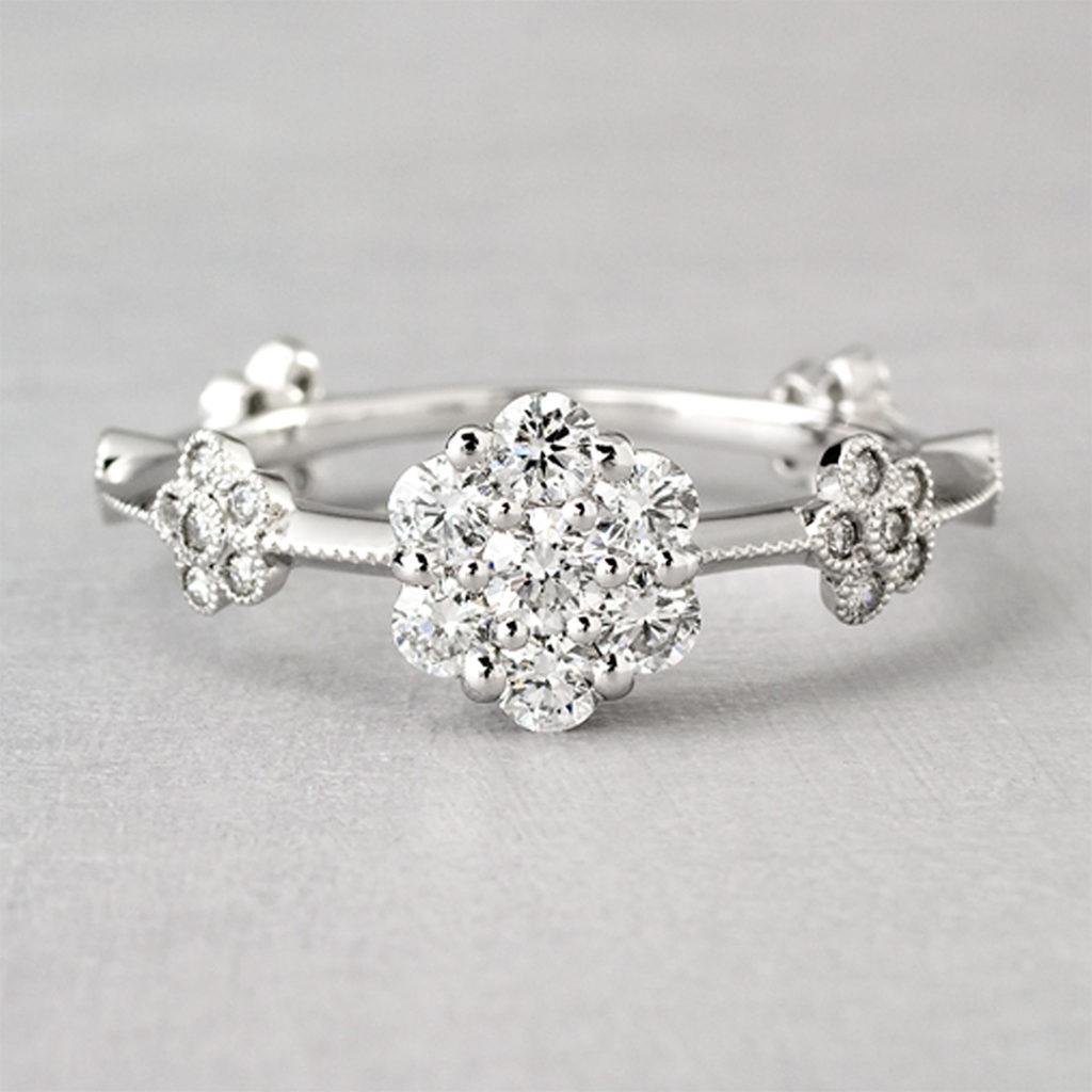 AL159B 婚約指輪 アンティーク キュート 個性派 ストレート プラチナ