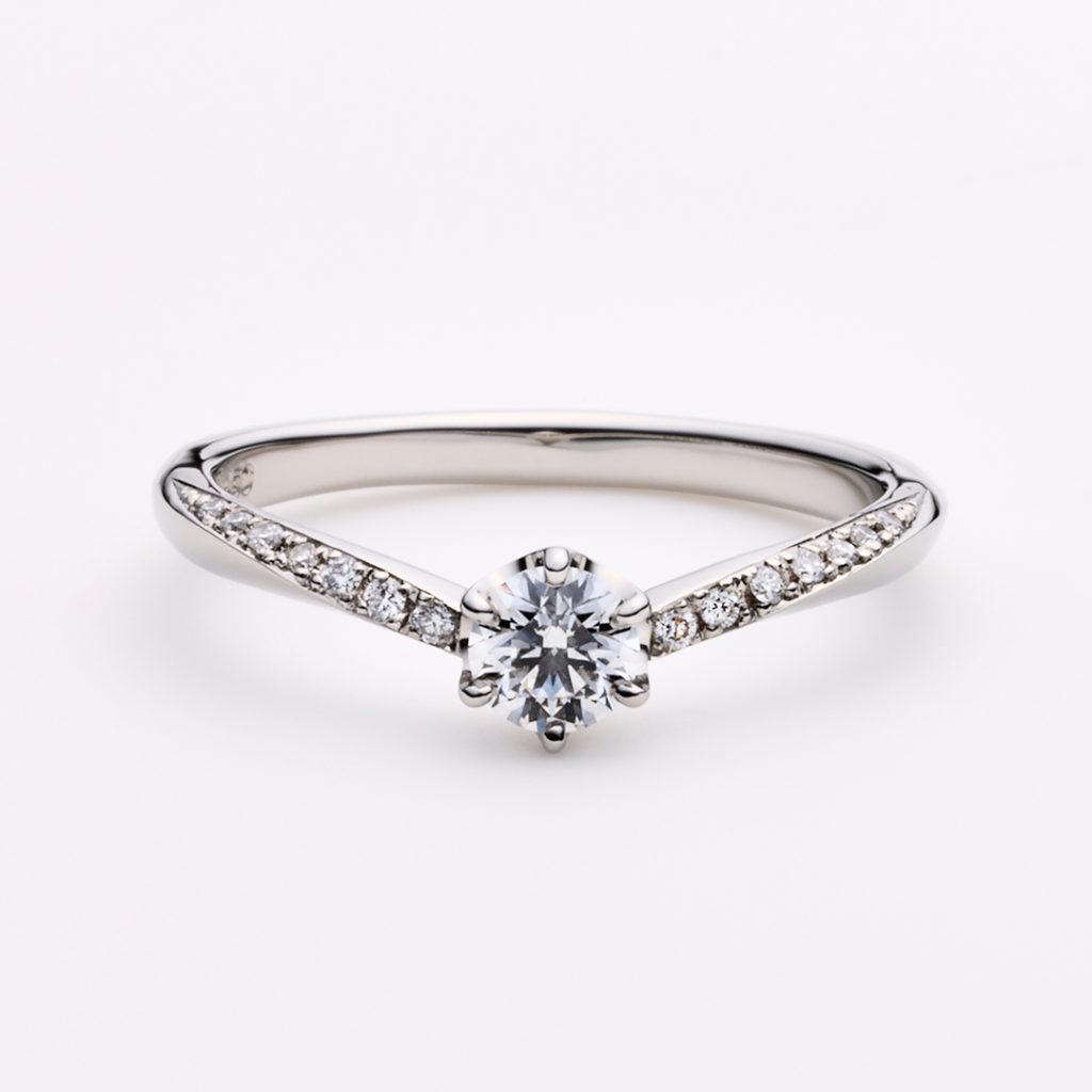 ALBA 婚約指輪 エレガント 個性派 V字(ウェーブ) プラチナ