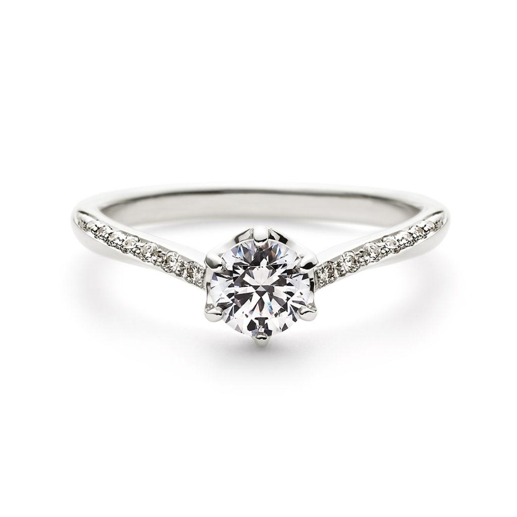 PORTADA 婚約指輪 エレガント V字(ウェーブ) エタニティ プラチナ