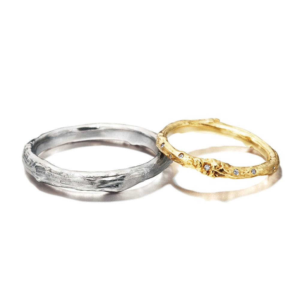 Alex Monroe 結婚指輪 個性派 ストレート イエローゴールド ホワイトゴールド