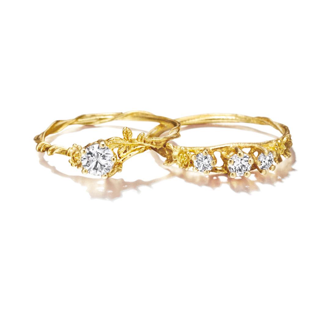 Alex Monroe 婚約指輪 エレガント アンティーク 個性派 ストレート S字(ウェーブ) イエローゴールド