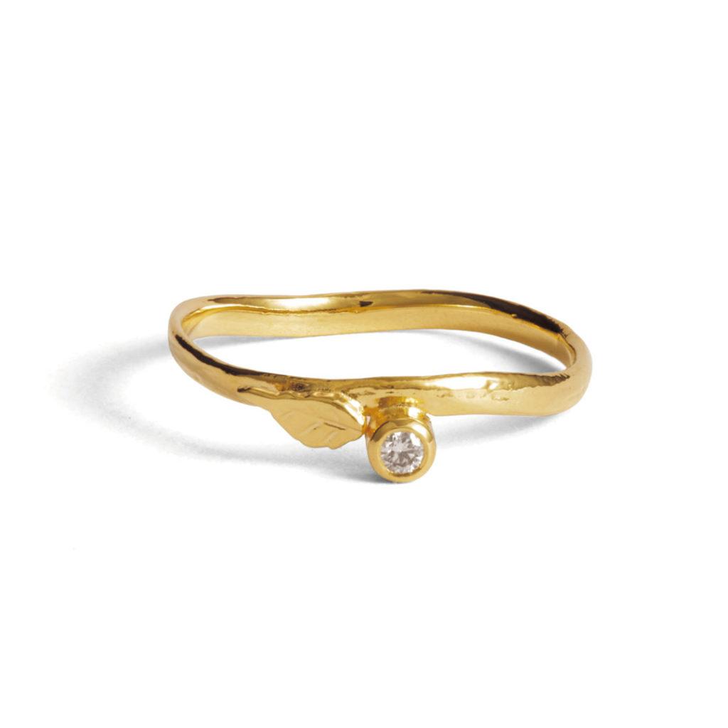 Alex Monroe 婚約指輪 シンプル アンティーク 個性派 S字(ウェーブ) イエローゴールド