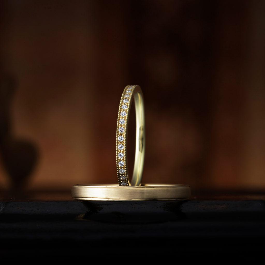 BEGONIA 結婚指輪 アンティーク キュート 個性派 ストレート イエローゴールド