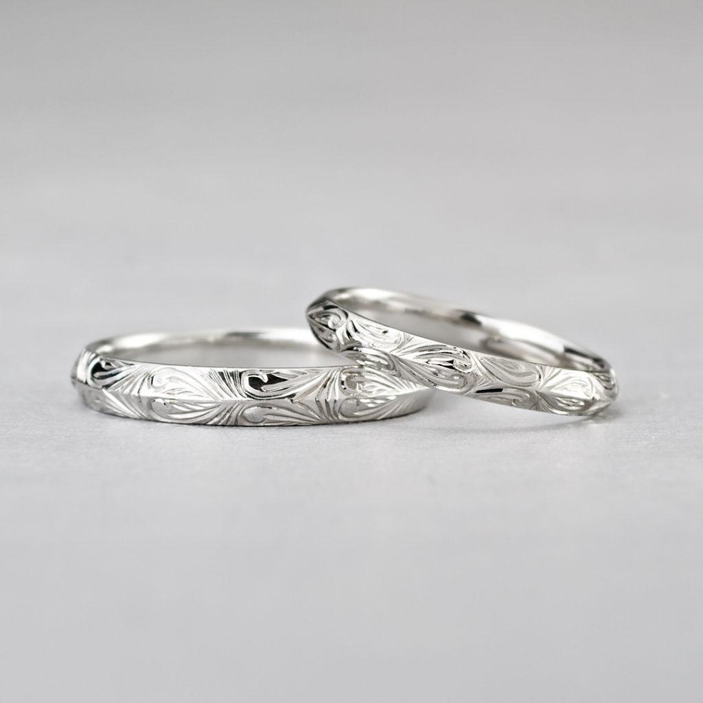 BR711A,BR711B 結婚指輪 シンプル アンティーク 個性派 ストレート プラチナ