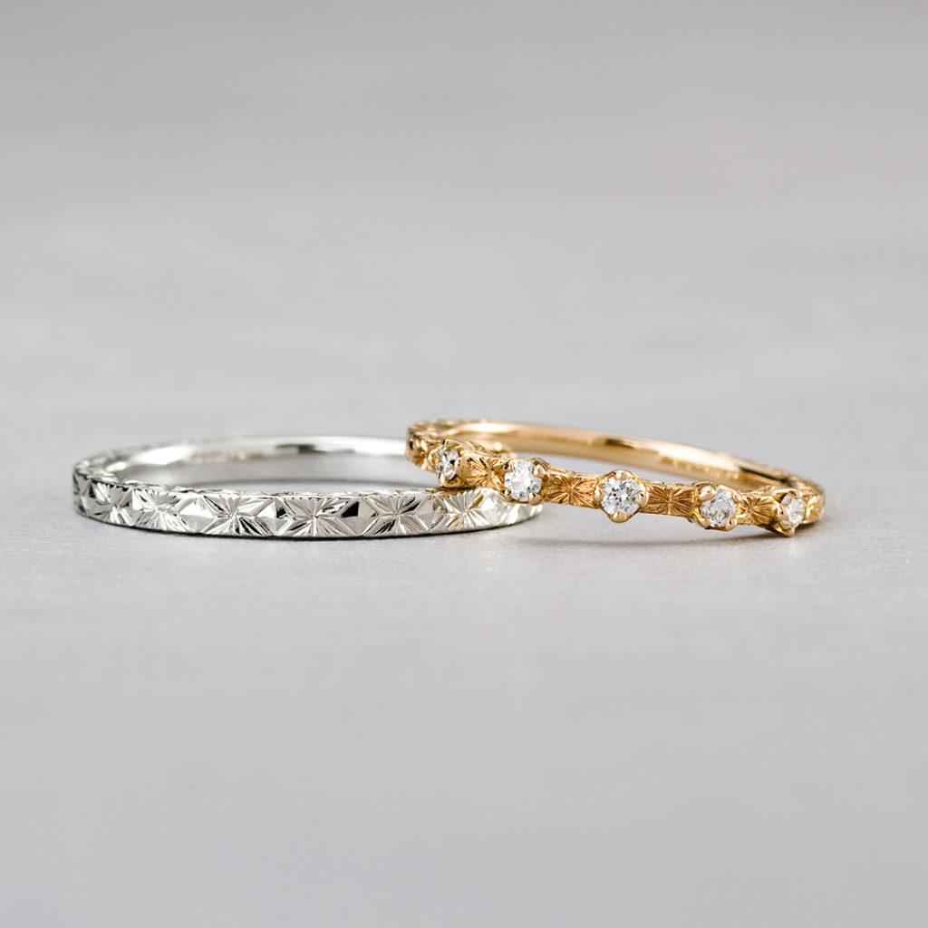 BR716A,BR716B 結婚指輪 アンティーク キュート 個性派 ストレート エタニティ プラチナ イエローゴールド