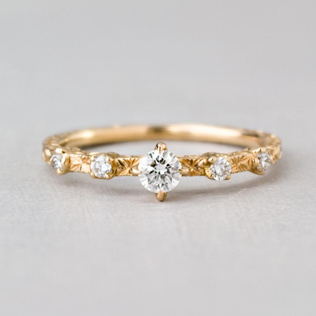 BR716C 婚約指輪 アンティーク キュート ストレート ピンクゴールド