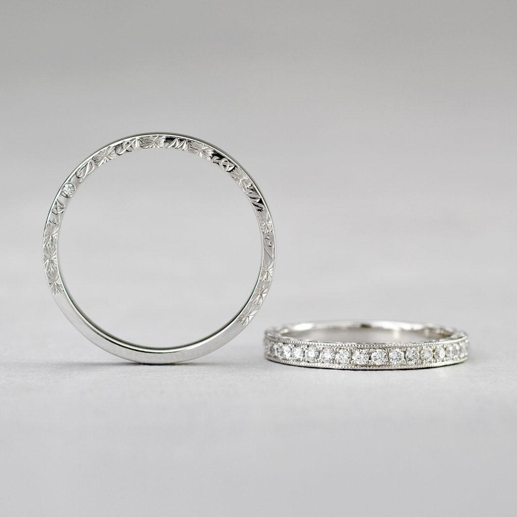 BR721A,BR721B 結婚指輪 アンティーク 個性派 ストレート エタニティ プラチナ