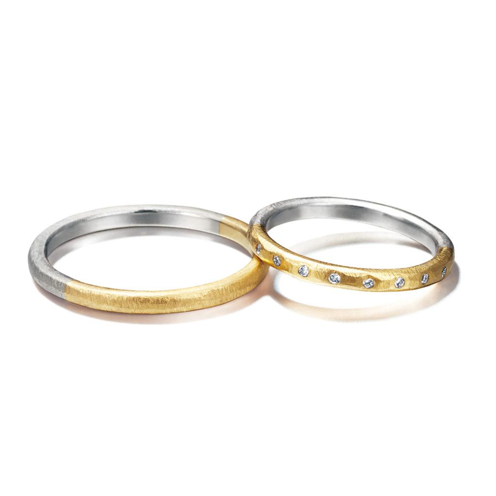 chigo 結婚指輪 シンプル アンティーク 個性派 ストレート イエローゴールド ホワイトゴールド コンビ