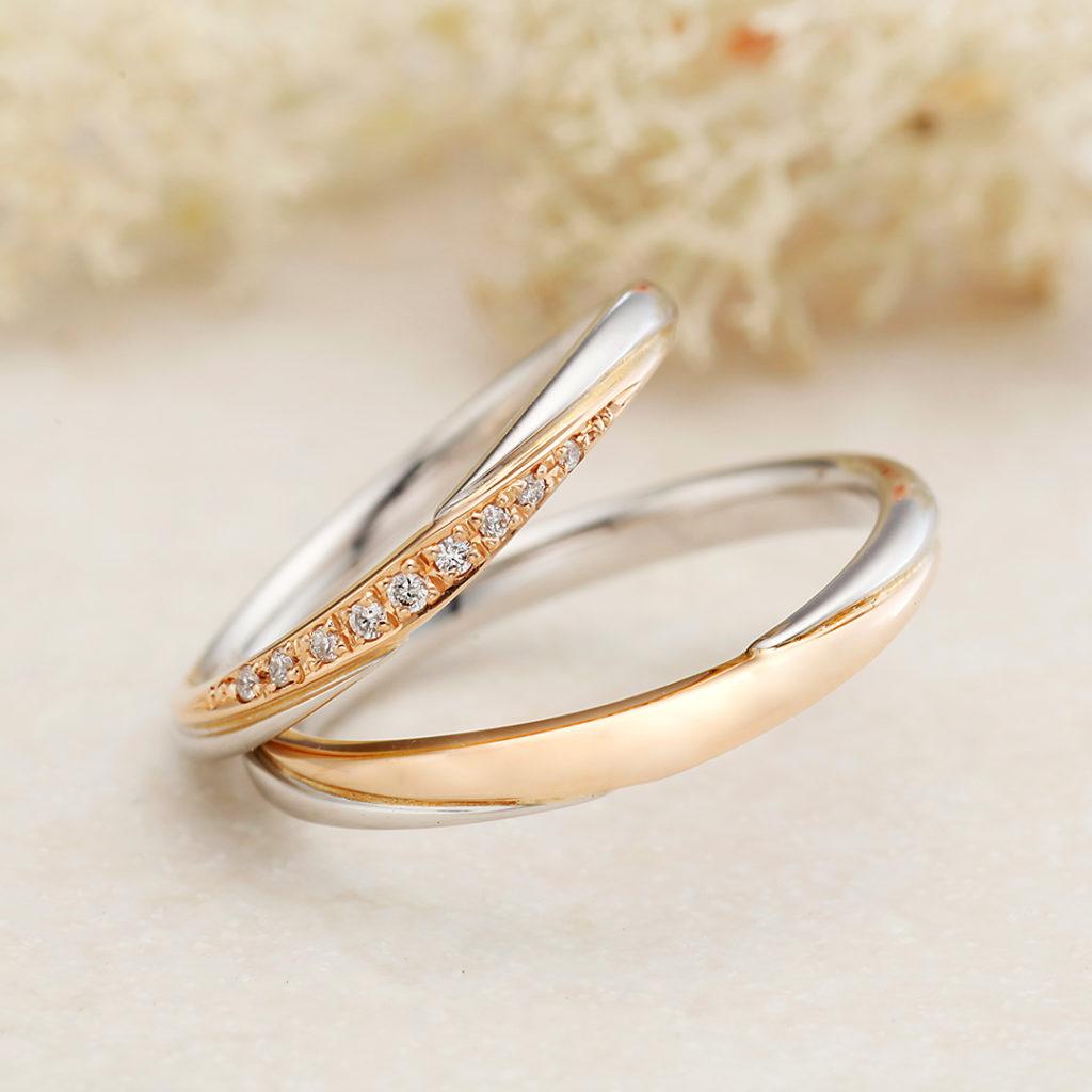 CHERIR-シェリー- 結婚指輪 シンプル キュート V字(ウェーブ) コンビ