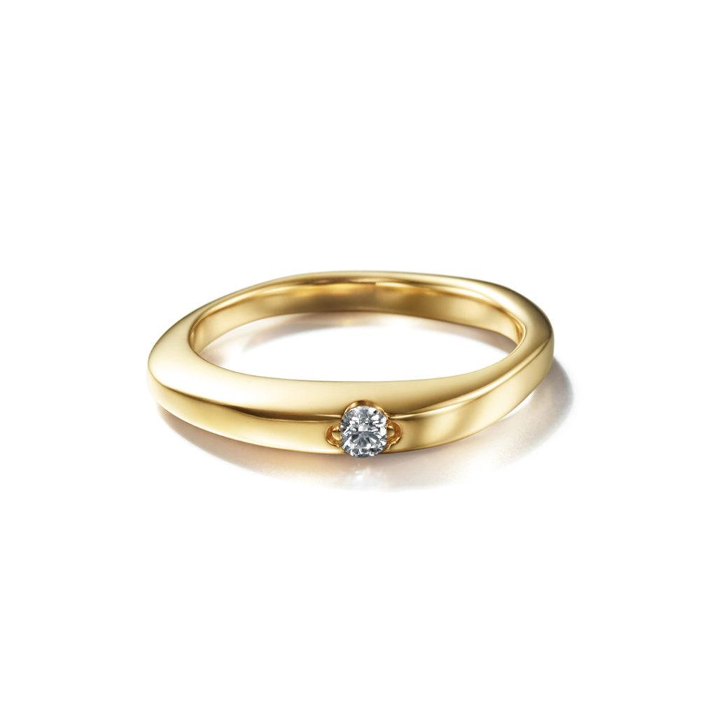 Corinne Hamak 婚約指輪 シンプル アンティーク 個性派 ストレート イエローゴールド