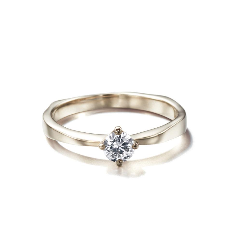 CORINNE HAMAK 婚約指輪 シンプル アンティーク ストレート ホワイトゴールド