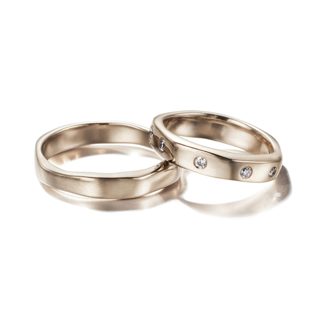CORINNE HAMAK 結婚指輪 シンプル 個性派 幅広 ホワイトゴールド