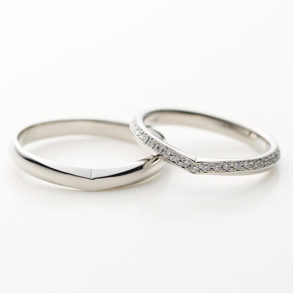 COLINA 結婚指輪 エレガント V字(ウェーブ) エタニティ プラチナ