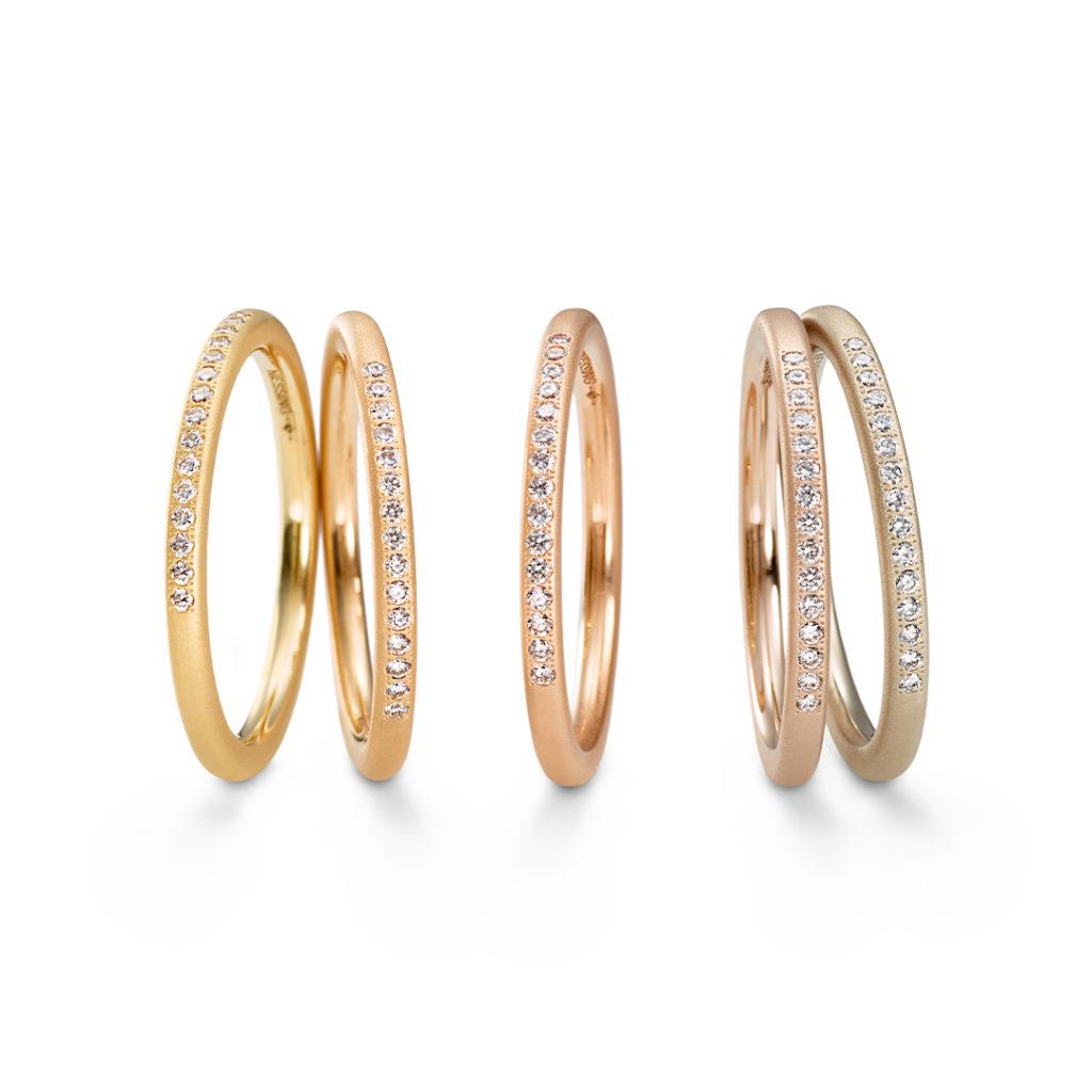 NIESSING COLOR RINGS 結婚指輪 シンプル ストレート エタニティ イエローゴールド ピンクゴールド