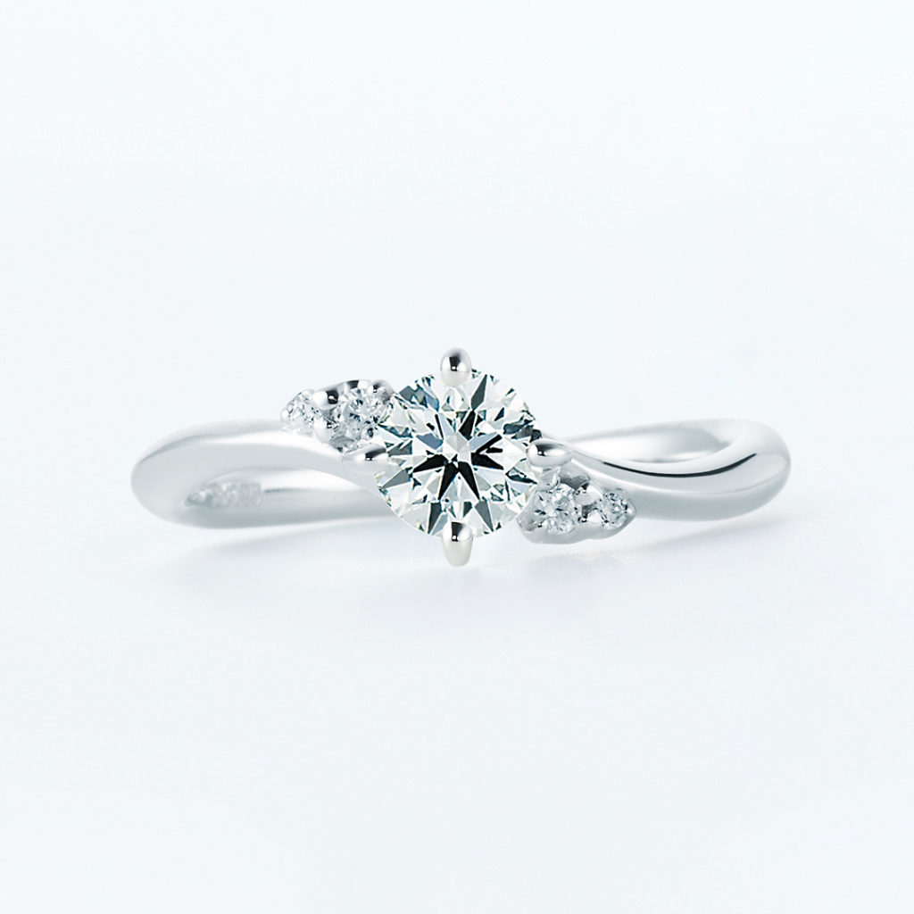 Caph 婚約指輪 シンプル エレガント S字(ウェーブ) プラチナ