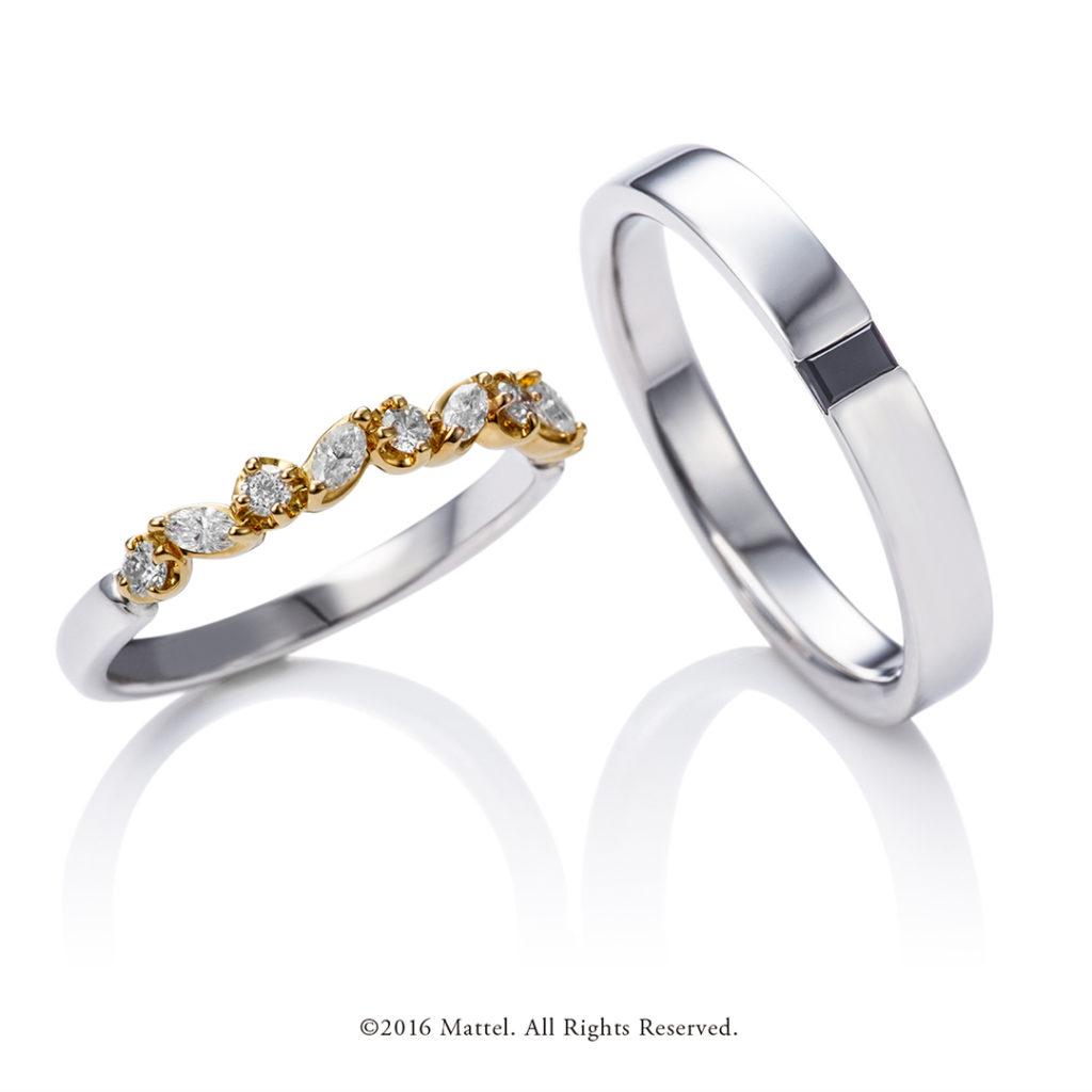 Cheers 結婚指輪 エレガント キュート 個性派 ストレート プラチナ イエローゴールド コンビ パラジウム