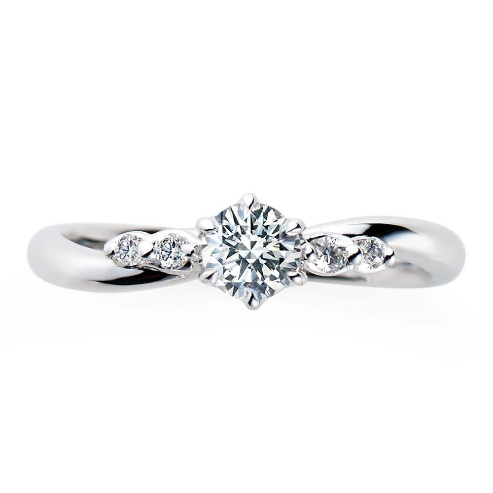Cherir 婚約指輪 シンプル エレガント ストレート S字(ウェーブ) プラチナ