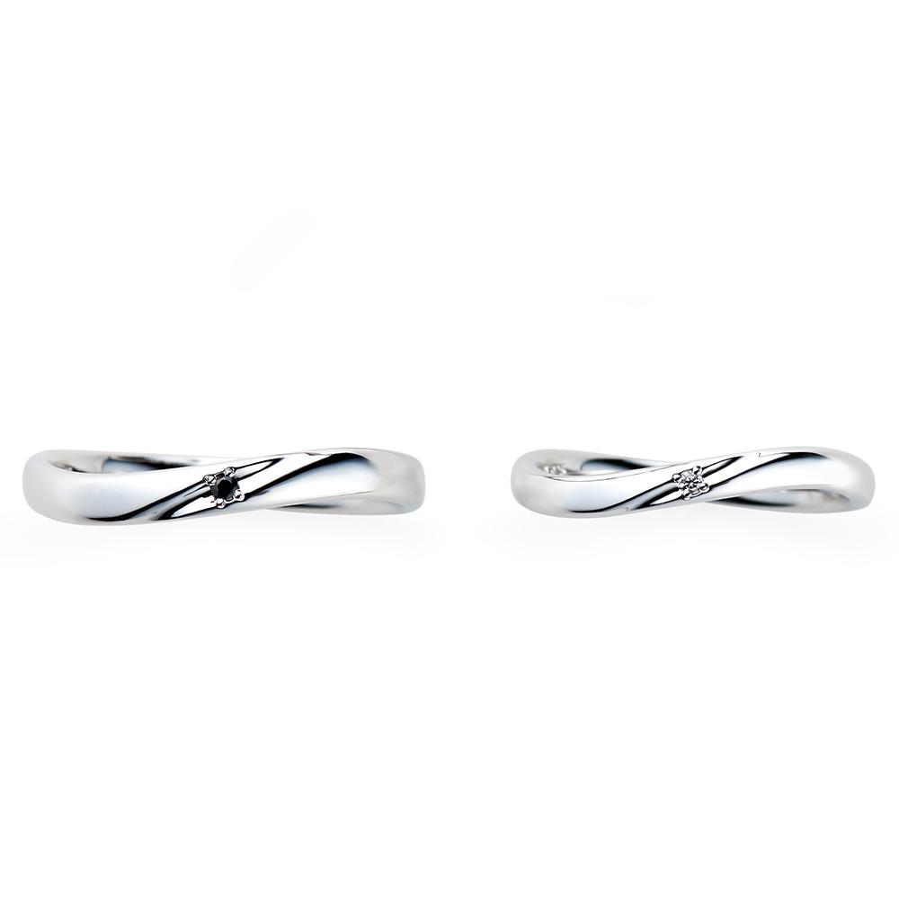 Cherir 結婚指輪 シンプル S字(ウェーブ) プラチナ