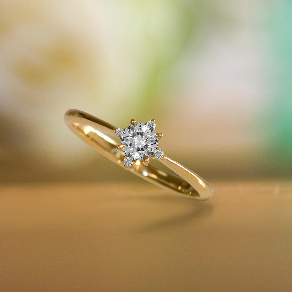 Croix du Sud 婚約指輪 アンティーク ストレート イエローゴールド