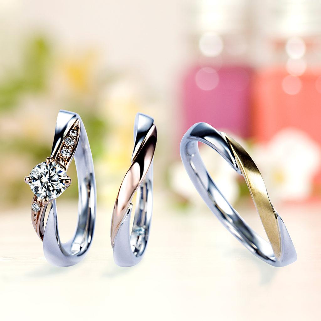 Dahlia 結婚指輪 セットリング キュート 個性派 S字(ウェーブ) コンビ