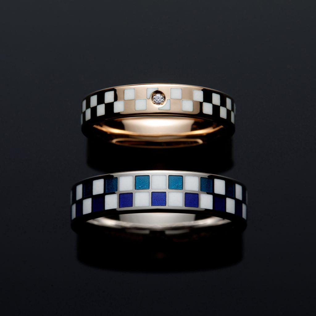EDOICHIMATSU 結婚指輪 個性派 ストレート 幅広 ホワイトゴールド ピンクゴールド